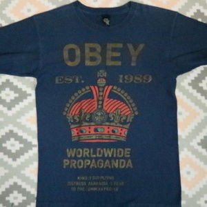 Vintage OBEY Worldwide Propaganda Crown Navy Tee